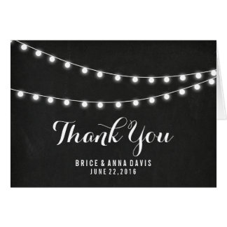 Black Chalkboard Summer String Light Thank You Greeting Card