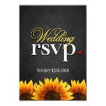 Black Chalkboard Sunflower Wedding RSVP Cards Personalized Invitation