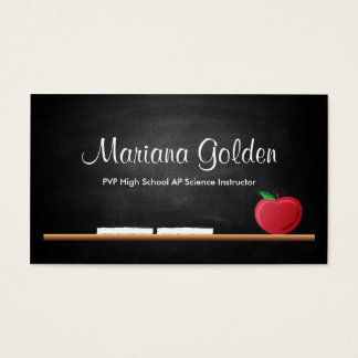 Black Chalkboard Teacher's Business Card