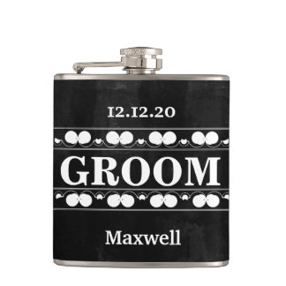 Black Chalkboard The Groomsman Wedding Hip Flask