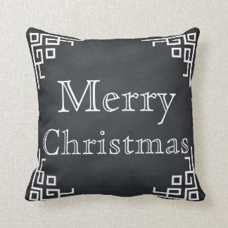 Black Chalkboard White Swirl Merry Christmas Cushion