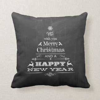 Black Chalkboard Wish You a Merry Christmas Tree Cushion