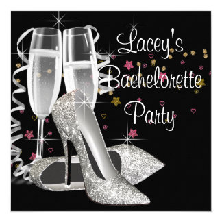 Black Champagne High Heels Bachelorette Party Card