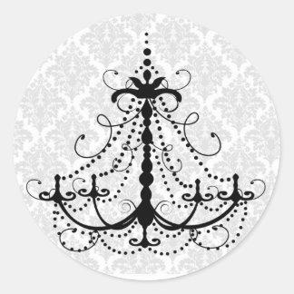 Black chandelier and damask round sticker