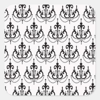 black chandelier on white modern damask design sticker