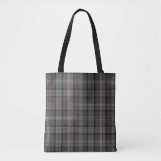 Black Charcoal Grey Red Tartan Plaid Tote Bag
