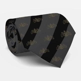 Black & Charcoal Grey Stripe Bronze Lion Emblem Tie