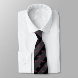 Black & Charcoal Grey Stripe Red U.J. Lion Emblem Tie