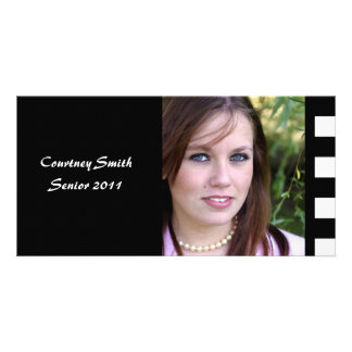 Black Checkerboard Personalized Senior Photo Card