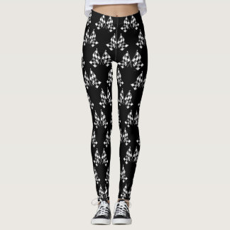 Black Checkered Flags Leggings