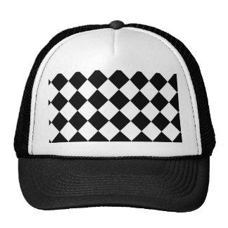 Black Checkered Mod Racing Pattern Cap
