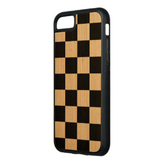 Black Checkered Pattern on Natural Wood Carved iPhone 7 Case