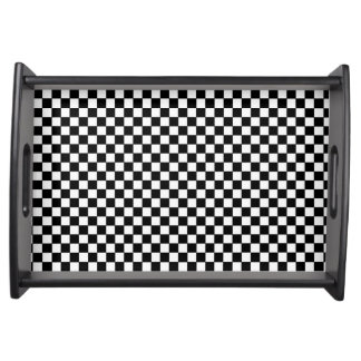 black checkered pattern service trays