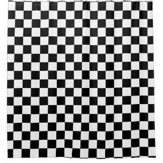 Black Checkered Shower Curtain