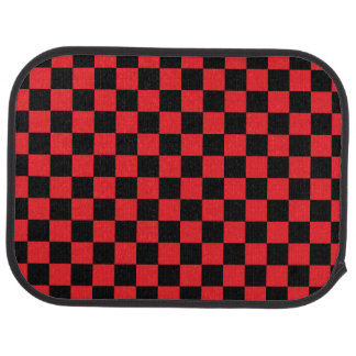 Black checkers on red background floor mat
