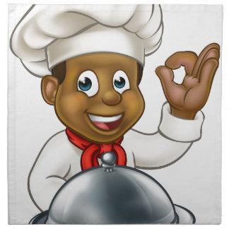 Black Chef Cartoon Character Mascot Napkin
