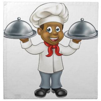 Black Chef Cartoon Character Napkin