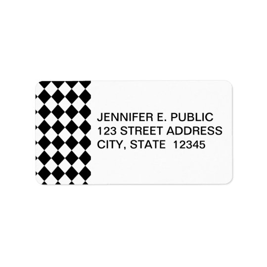 Black Chequered Mod Racing Pattern Label