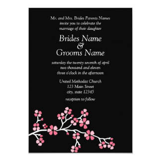 Black Cherry Blossom Elegant Wedding 5x7 Card