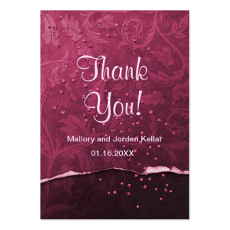 Black Cherry Damask Thank You Pack Of Chubby Business Cards