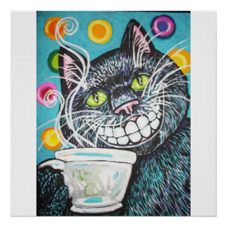BLACK CHESHIRE COFFEE CAT POSTER