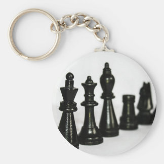 Black Chess Figure Pieces Perspective Key Ring