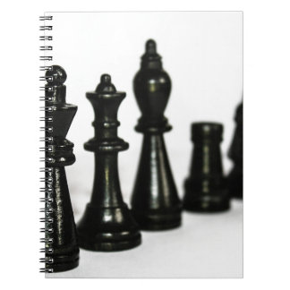 Black Chess Figure Pieces Perspective Spiral Notebook