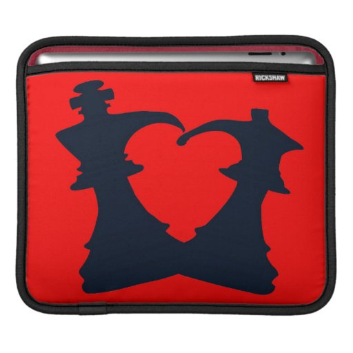 Black chess king and queen form a heart sleeve for iPads