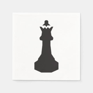 Black Chess Piece Paper Napkins