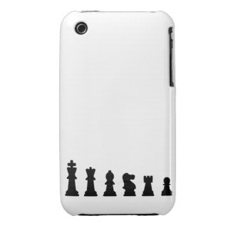 Black chess pieces on white iPhone 3 cover