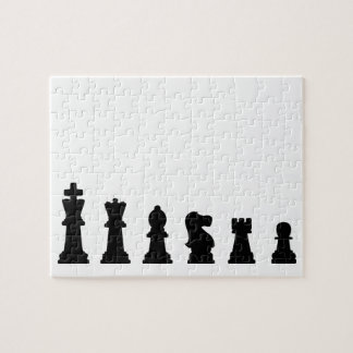 Black chess pieces on white puzzles