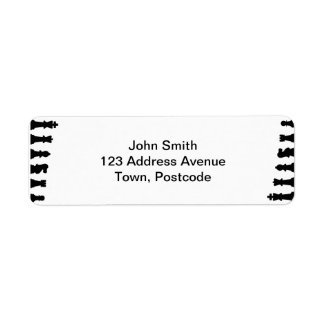 Black chess pieces on white return address label