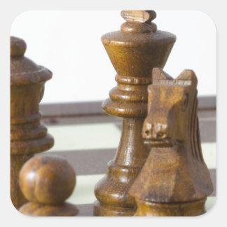 Black chess pieces square sticker
