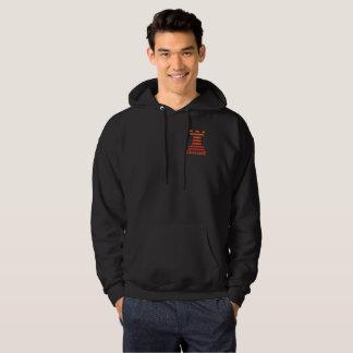 Black ChessME Mens Hooded Sweatshirt Orange Rook