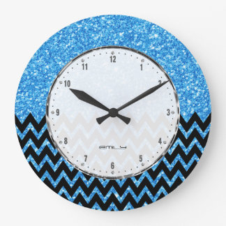 Black Chevron Blue Faux Glitter Large Clock