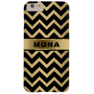 Black Chevron Gold Background Barely There iPhone 6 Plus Case