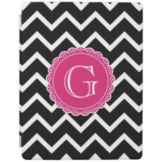 Black Chevron Hot Pink Monogram iPad Cover