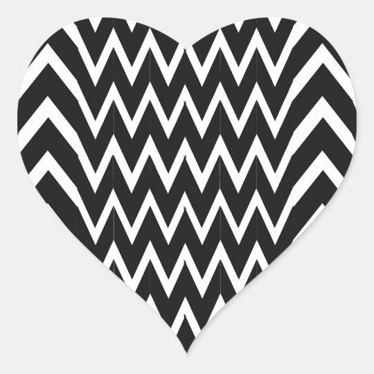 Black Chevron Illusion Heart Sticker