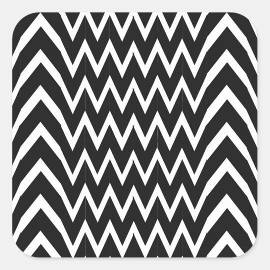 Black Chevron Illusion Square Sticker