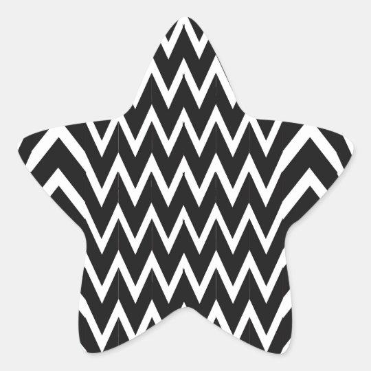 Black Chevron Illusion Star Sticker