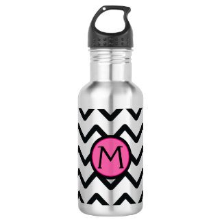 Black Chevron Monogram 532 Ml Water Bottle