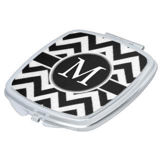 Black Chevron Monogram Vanity Mirror