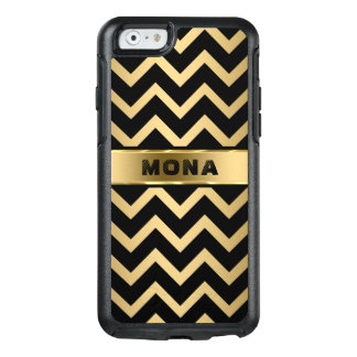 Black Chevron Pattern Gold Background OtterBox iPhone 6/6s Case