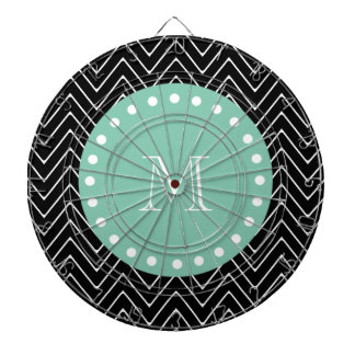 Black Chevron Pattern | Mint Green Monogram Dartboard With Darts