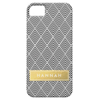Black Chevron Pattern with Gold Faux Foil Name iPhone 5 Cover