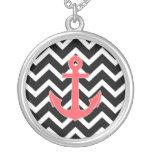 Black Chevron Pink Anchor Necklaces