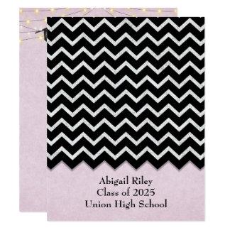black chevron-pink blush Graduation Card