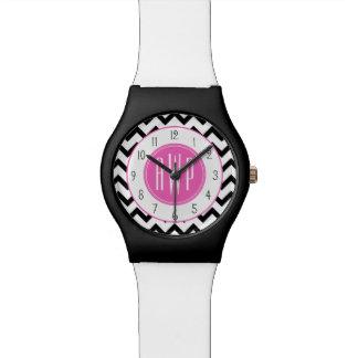 Black Chevron Pink Monogram Watch