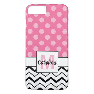 Black Chevron & Pink Polka Dots, Name & Monogram iPhone 8 Plus/7 Plus Case