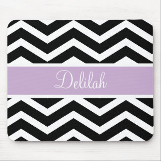 Black Chevron Purple Custom Name Mouse Pad